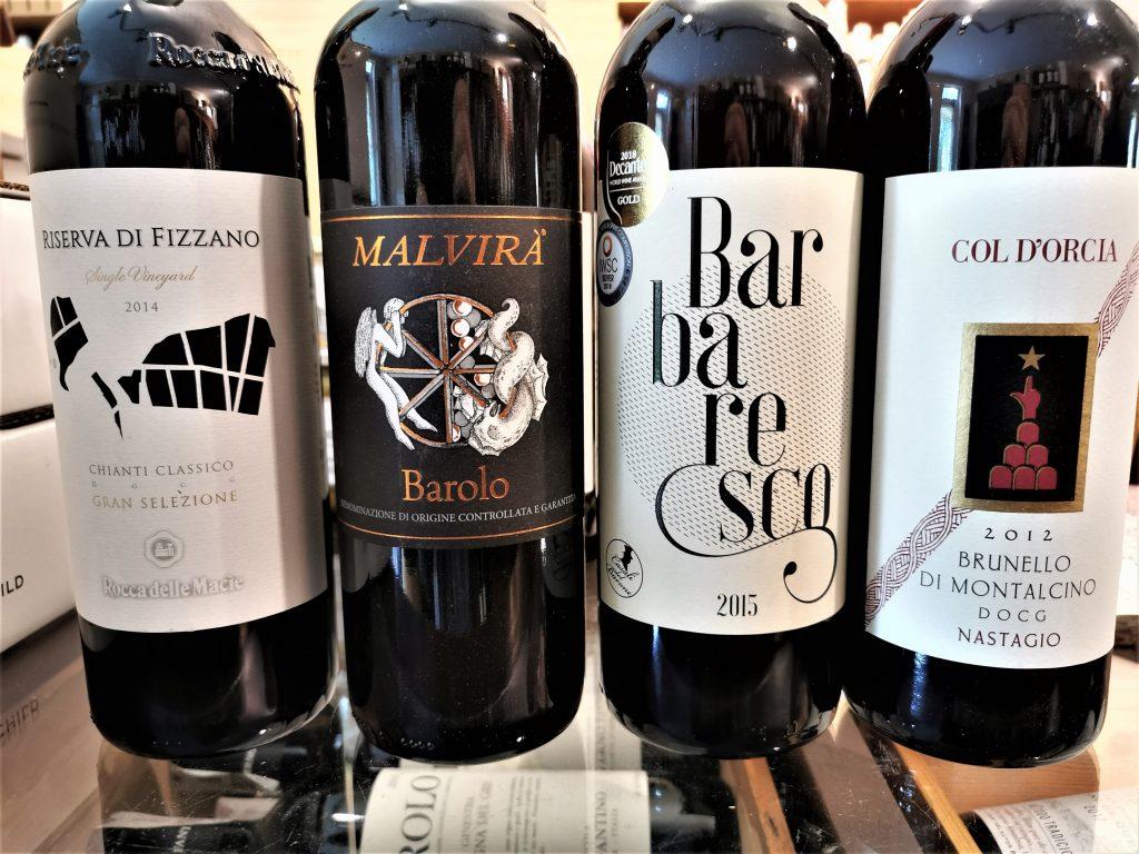 Włoskie wina - Barolo, Barbaresco, Brunello di Montalcino oraz Chinati Classico.